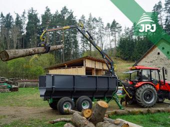 Vlek Farma - nosnosť 8 t, dosah hydraulickej ruky 5,3 m, vaňa na raždie + traktor Zetor Major